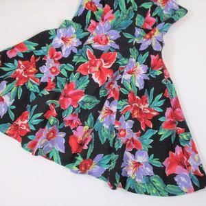 Vintage Dresses - Vtg 80s 90s Halter Fit Flare Dress Floral Black